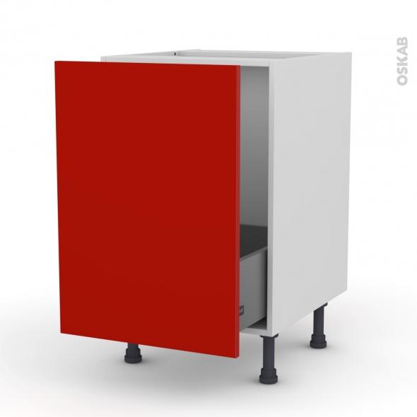 GINKO Rouge - Meuble sous-évier  - 1 porte coulissante - L50xH70xP58