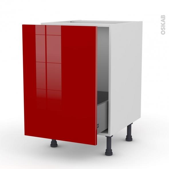 Meuble de cuisine - Sous évier - STECIA Rouge - 1 porte coulissante - L50 x H70 x P58 cm