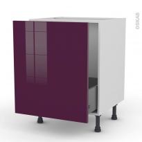 Meuble de cuisine - Sous évier - KERIA Aubergine - 1 porte coulissante - L60 x H70 x P58 cm