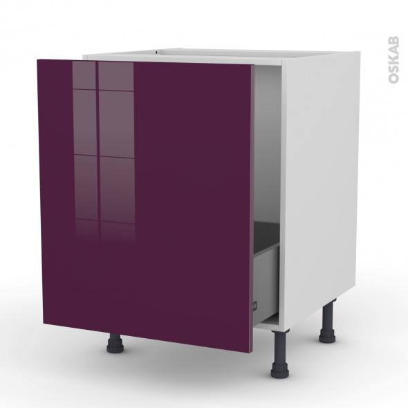 KERIA Aubergine - Meuble sous-évier  - 1 porte coulissante - L60xH70xP58