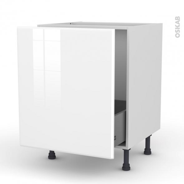 Meuble de cuisine - Sous évier - IRIS Blanc - 1 porte coulissante - L60 x H70 x P58 cm
