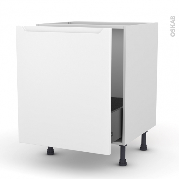 Meuble de cuisine - Sous évier - PIMA Blanc - 1 porte coulissante - L60 x H70 x P58 cm