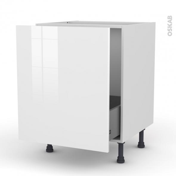 Meuble de cuisine - Sous évier - STECIA Blanc - 1 porte coulissante - L60 x H70 x P58 cm