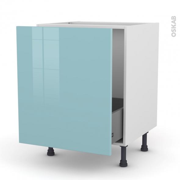 Meuble de cuisine - Sous évier - KERIA Bleu - 1 porte coulissante - L60 x H70 x P58 cm