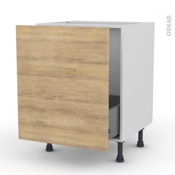 Meuble de cuisine - Sous évier - HOSTA Chêne naturel - 1 porte coulissante - L60 x H70 x P58 cm