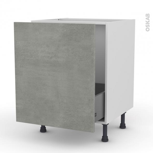 Meuble de cuisine - Sous évier - FAKTO Béton - 1 porte coulissante - L60 x H70 x P58 cm