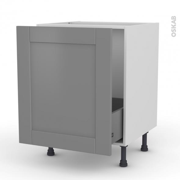 FILIPEN Gris - Meuble sous-évier  - 1 porte coulissante - L60xH70xP58