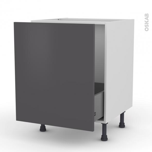 GINKO Gris - Meuble sous-évier  - 1 porte coulissante - L60xH70xP58