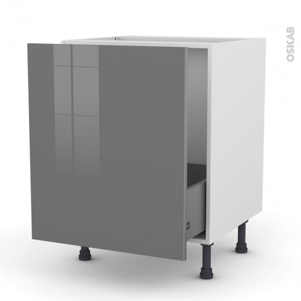 STECIA Gris - Meuble sous-évier  - 1 porte coulissante - L60xH70xP58