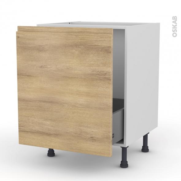 Meuble de cuisine - Sous évier - IPOMA Chêne naturel - 1 porte coulissante - L60 x H70 x P58 cm