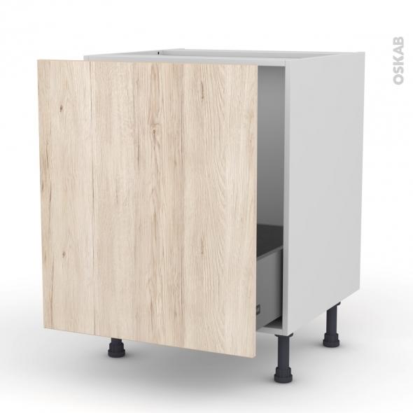Meuble de cuisine - Sous évier - IKORO Chêne clair - 1 porte coulissante - L60 x H70 x P58 cm