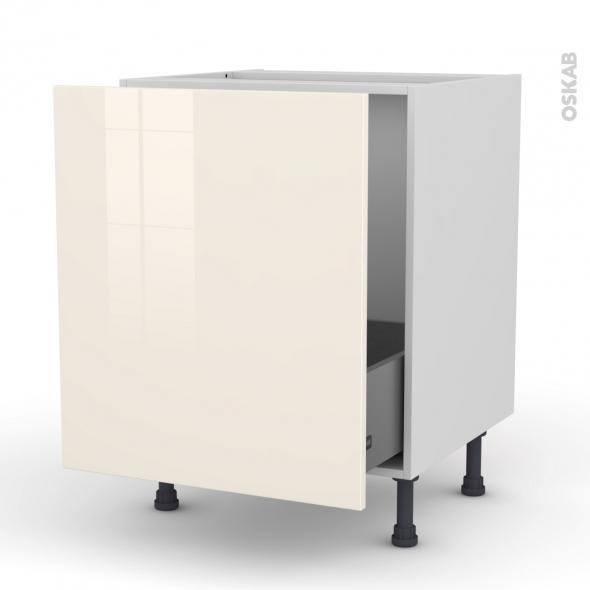 Meuble de cuisine - Sous évier - KERIA Ivoire - 1 porte coulissante - L60 x H70 x P58 cm