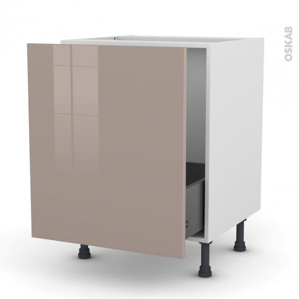 Meuble de cuisine - Sous évier - KERIA Moka - 1 porte coulissante - L60 x H70 x P58 cm