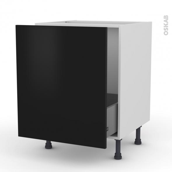 Meuble de cuisine - Sous évier - GINKO Noir - 1 porte coulissante - L60 x H70 x P58 cm