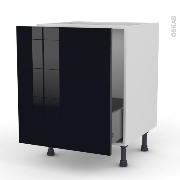 Meuble de cuisine - Sous évier - KERIA Noir - 1 porte coulissante - L60 x H70 x P58 cm