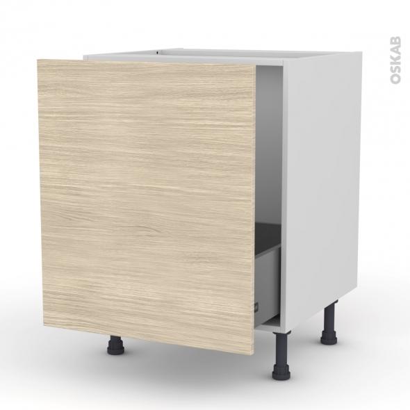 Meuble de cuisine - Sous évier - STILO Noyer Blanchi - 1 porte coulissante - L60 x H70 x P58 cm