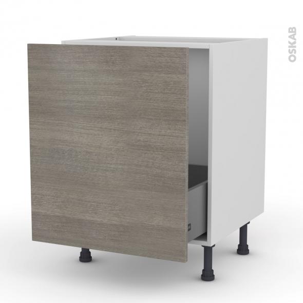 Meuble de cuisine - Sous évier - STILO Noyer Naturel - 1 porte coulissante - L60 x H70 x P58 cm