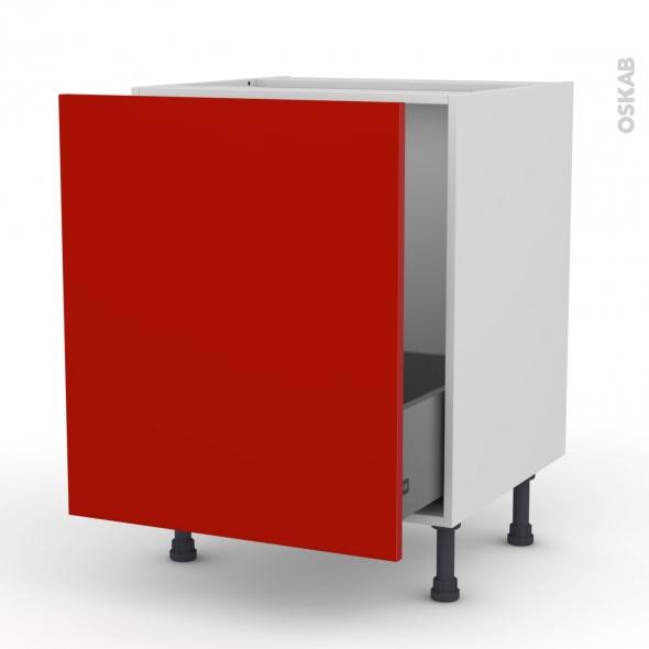GINKO Rouge - Meuble sous-évier  - 1 porte coulissante - L60xH70xP58