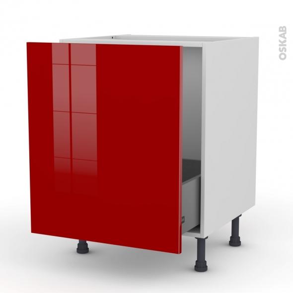 Meuble de cuisine - Sous évier - STECIA Rouge - 1 porte coulissante - L60 x H70 x P58 cm
