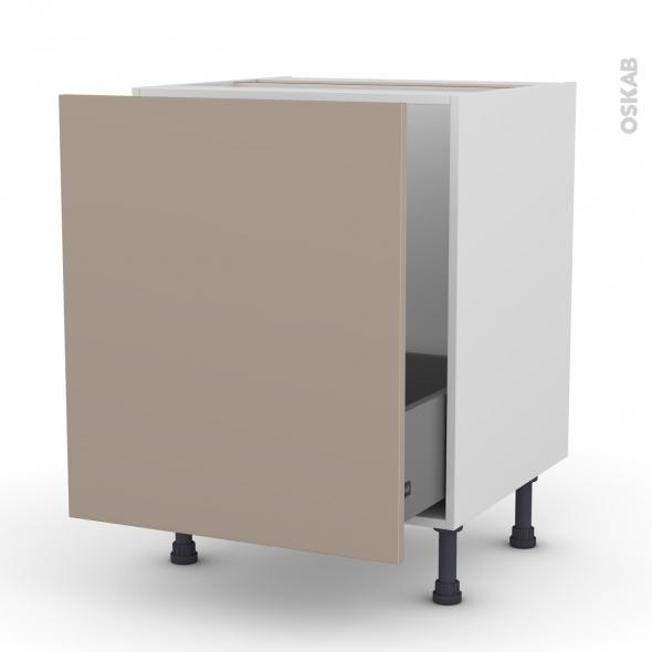 Meuble de cuisine - Sous évier - GINKO Taupe - 1 porte coulissante - L60 x H70 x P58 cm