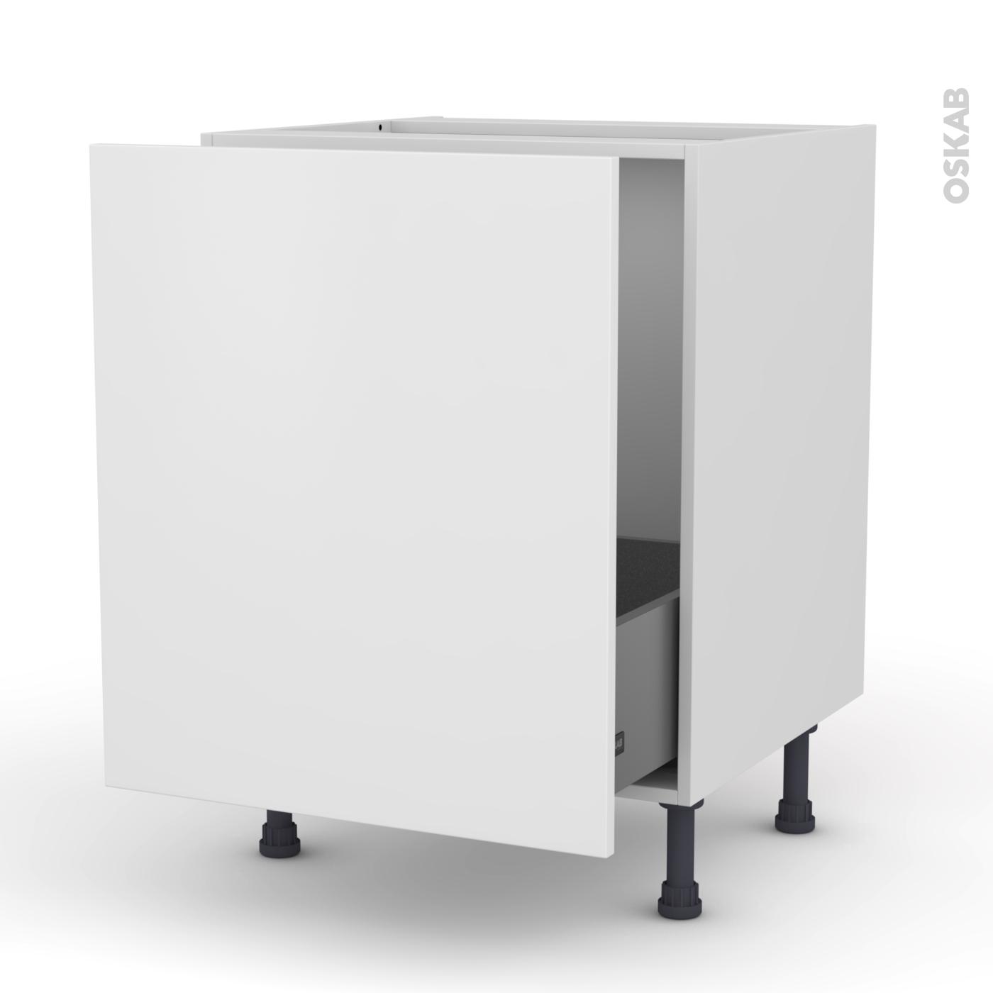 Meuble de cuisine Sous évier GINKO Blanc, 14 porte coulissante, L14 x H14 x  P14 cm