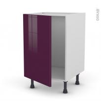 Meuble de cuisine - Sous évier - KERIA Aubergine - 1 porte - L50 x H70 x P58 cm