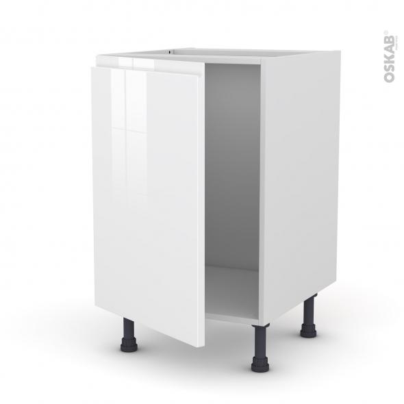 Meuble de cuisine - Sous évier - IPOMA Blanc brillant - 1 porte - L50 x H70 x P58 cm