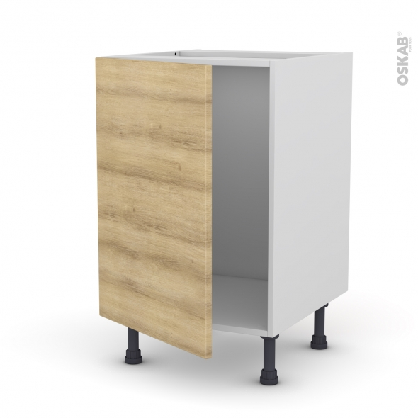 Meuble de cuisine - Sous évier - HOSTA Chêne naturel - 1 porte - L50 x H70 x P58 cm