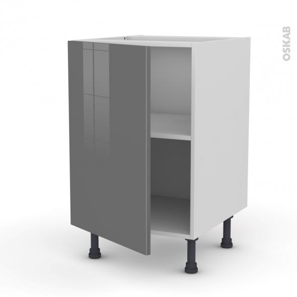 Meuble de cuisine - Sous évier - STECIA Gris - 1 porte - L50 x H70 x P58 cm