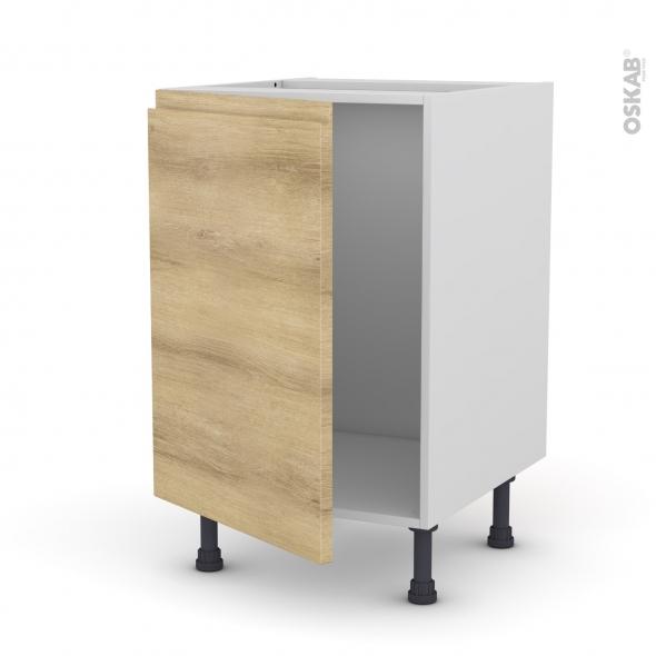 Meuble de cuisine - Sous évier - IPOMA Chêne naturel - 1 porte - L50 x H70 x P58 cm