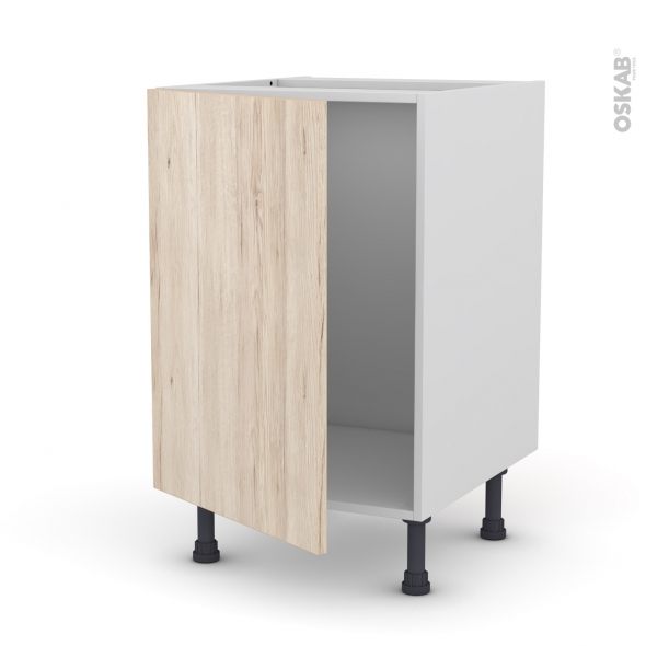 Meuble de cuisine - Sous évier - IKORO Chêne clair - 1 porte - L50 x H70 x P58 cm
