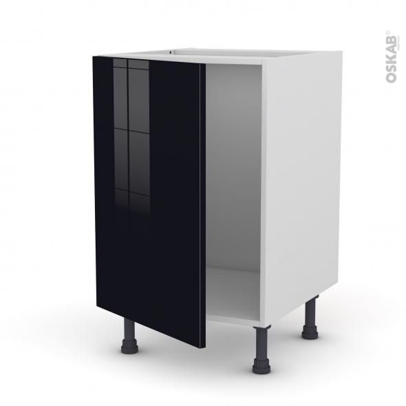 Meuble de cuisine - Sous évier - KERIA Noir - 1 porte - L50 x H70 x P58 cm