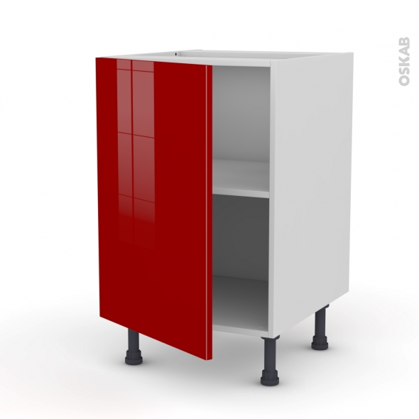 Meuble de cuisine - Sous évier - STECIA Rouge - 1 porte - L50 x H70 x P58 cm