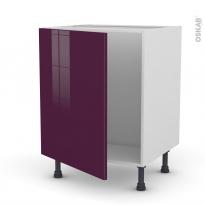 Meuble de cuisine - Sous évier - KERIA Aubergine - 1 porte - L60 x H70 x P58 cm