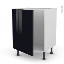 Meuble de cuisine - Sous évier - KERIA Noir - 1 porte - L60 x H70 x P58 cm
