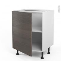 Meuble de cuisine - Sous évier - STILO Noyer Naturel - 1 porte - L60 x H70 x P58 cm