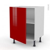 Meuble de cuisine - Sous évier - STECIA Rouge - 1 porte - L60 x H70 x P58 cm