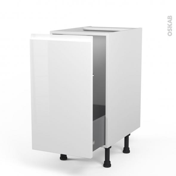 Meuble de cuisine - Sous évier - IPOMA Blanc brillant - 1 porte coulissante - L40 x H70 x P58 cm