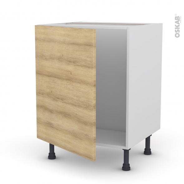 Meuble de cuisine - Sous évier - HOSTA Chêne naturel - 1 porte - L60 x H70 x P58 cm