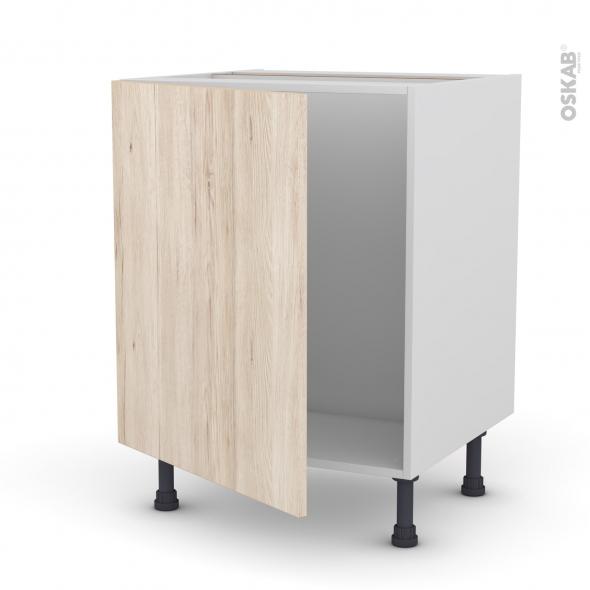Meuble de cuisine - Sous évier - IKORO Chêne clair - 1 porte - L60 x H70 x P58 cm