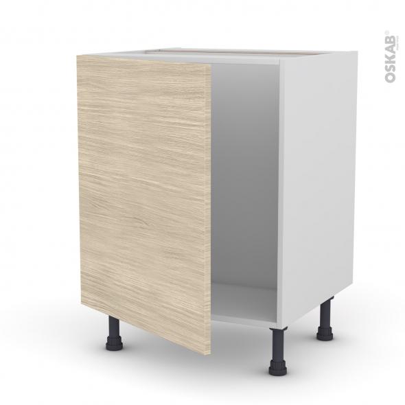 Meuble de cuisine - Sous évier - STILO Noyer Blanchi - 1 porte - L60 x H70 x P58 cm