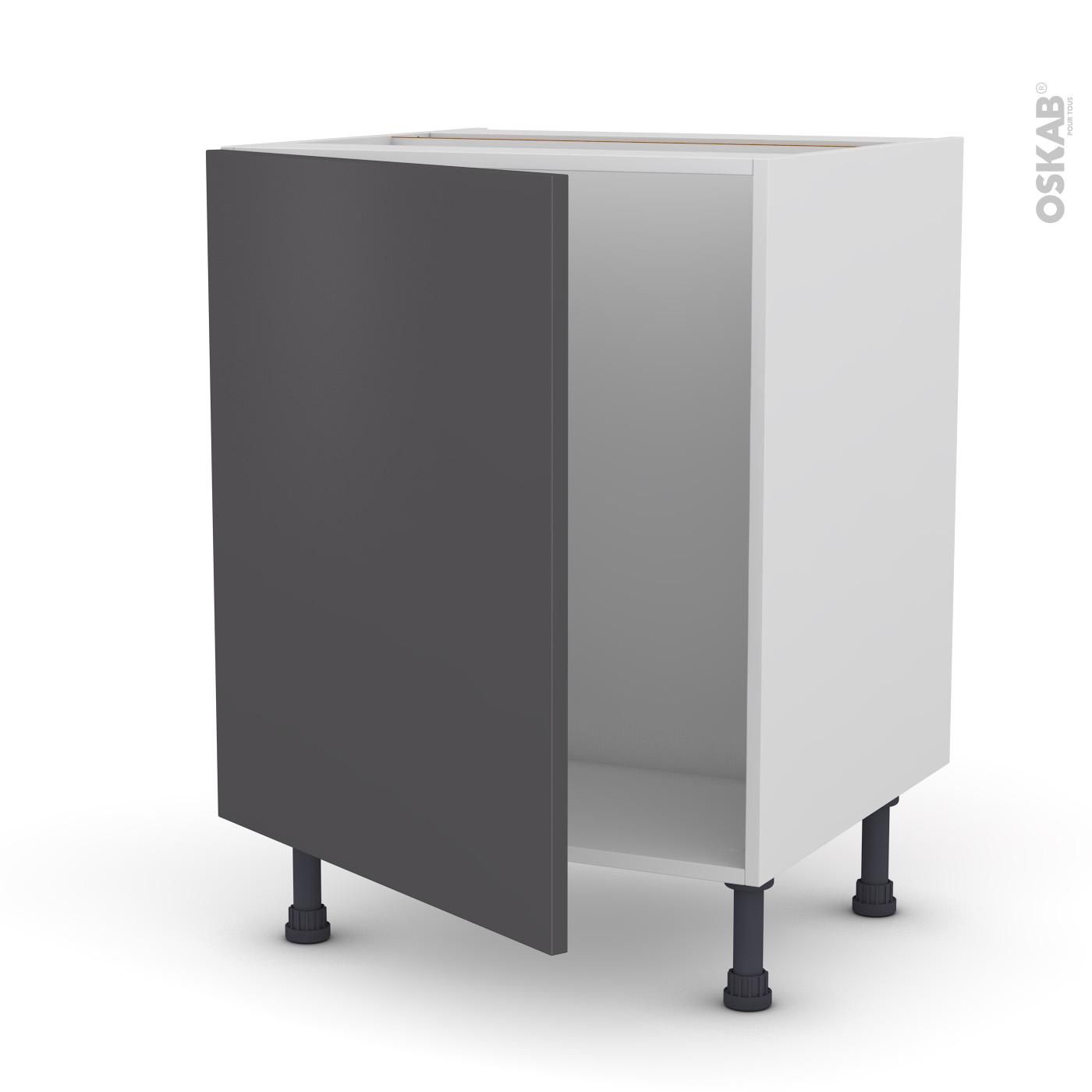 Meuble Sous Evier Ancien meuble de cuisine sous évier ginko gris, 1 porte, l60 x h70 x p58 cm
