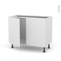 GINKO Blanc - Meuble sous-évier  - 2 portes - L100xH70xP58