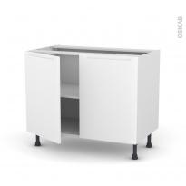 Meuble de cuisine - Sous évier - PIMA Blanc - 2 portes - L100 x H70 x P58 cm