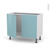 Meuble de cuisine - Sous évier - KERIA Bleu - 2 portes - L100 x H70 x P58 cm