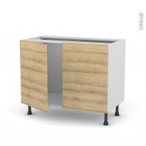 HOSTA Chêne naturel - Meuble sous-évier  - 2 portes - L100xH70xP58
