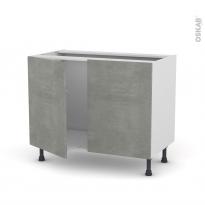 Meuble de cuisine - Sous évier - FAKTO Béton - 2 portes - L100 x H70 x P58 cm