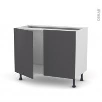 GINKO Gris - Meuble sous-évier  - 2 portes - L100xH70xP58