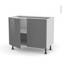 Meuble de cuisine - Sous évier - STECIA Gris - 2 portes - L100 x H70 x P58 cm