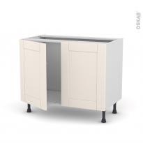 Meuble de cuisine - Sous évier - FILIPEN Ivoire - 2 portes - L100 x H70 x P58 cm